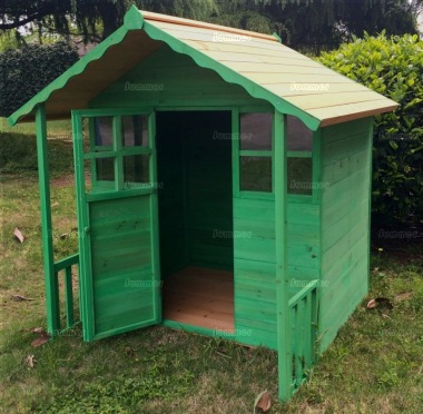 Childrens Playhouse 050 - Shiplap, Half Glazed Door, Painted 2 Colours