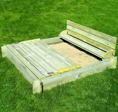Wooden Sandpit 556 - Interlocking Logs, Boarded Lid with Benches